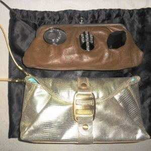 Two MARNI Brown & HOGAN Gold Leather Clutch Purses